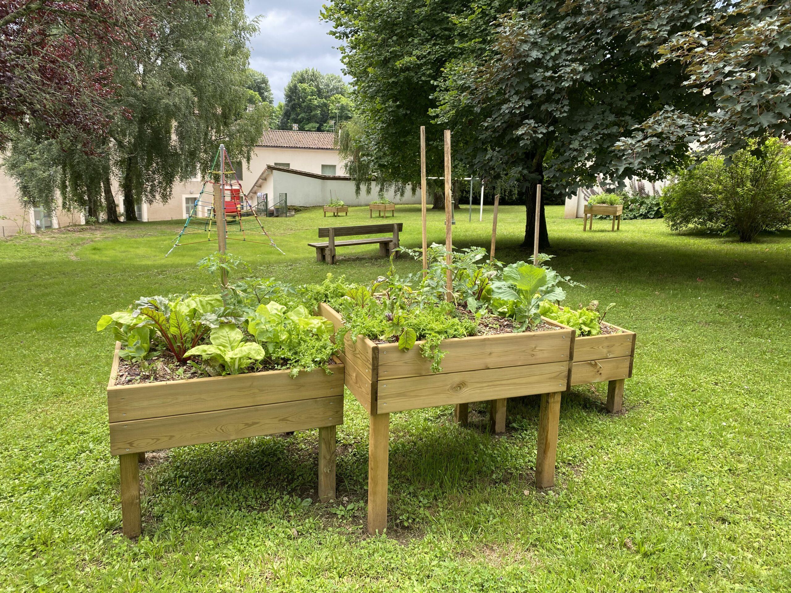 Tables potagères présentes au jardin derrière la mairie